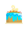 cake for the holiday with swan cartoon vector image vector image