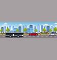 cars and passenger bus driving asphalt road urban vector image