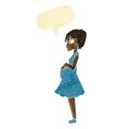 cartoon pregnant woman with speech bubble vector image