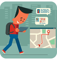 Cartoon young man traveling and online chatting vector image vector image