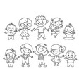 cheerful children painted colorful pencils vector image vector image