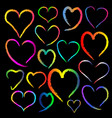 colorful chalk heart image on black background vector image