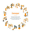 conveyor machines robotic hand banner card circle vector image vector image