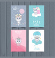 cute animal cards for kids vector image vector image