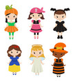 cute cartoon children in colorful halloween vector image vector image