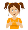cute teenager girl giving thumbs up vector image vector image