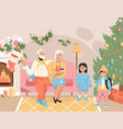 family celebrating christmas concept vector image