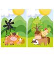 farm animals bull horse sheep hen windmill trees vector image vector image