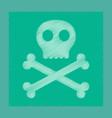 flat shading style icon halloween skull bones vector image vector image