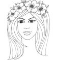 Girl with a wreath of red flowers vector image vector image