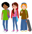 group teenager students vector image