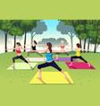 group women doing yoga in park vector image