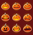 Halloween Pumpkin Character Emoticon Icons vector image