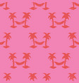 hammocks between palm trees seamless red and pink vector image