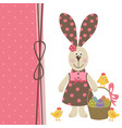 happy easter greeting card with bunny girl vector image vector image