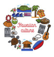 hawaiian culture promo poster with traditional vector image vector image