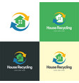 house recycling logo and icon vector image vector image