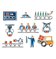Industrial and engineering icons set in flat