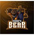 kungfu bear mascot logo with a sword