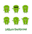 lettuce smiles cute cartoon emoticons emoji icons vector image vector image