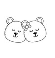 Line cute animal couple bear head together vector image