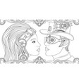man and girl in suits steampunk vector image vector image