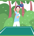 man ping pong player hold racket palm landscape vector image