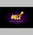 md m d 3d gold golden alphabet letter metal logo vector image vector image