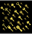 metallic keys isolated yellow key pattern vector image