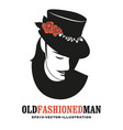 moustached man in old style wearing a top hat vector image