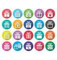 Present gift box flat design icons set vector image