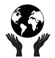 protecting or control hands holding globe planet vector image vector image