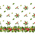 seamless pattern with holly traditional christmas vector image vector image