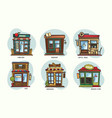 set isolated stores and shops cafe grocery vector image