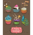 Set of party cupcakes with different toppings vector image