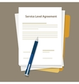 SLA Service Level Agreement document pen paper vector image vector image