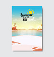summer airplane beach landscape badge isolated vector image vector image