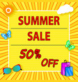 summer sale banner with sun cloud bag icons vector image