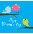 Three cartoon birds Happy Valentines Day card vector image vector image
