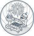 traditional magi offerings black white vector image