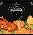 turkey with pumpkin and cob of thanksgiving day vector image