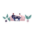 two hipster guy sitting at table eating meal at vector image vector image