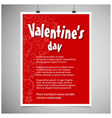 valentines day greetings card with red background vector image vector image