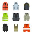 vest waistcoat jacket suit icons set vector image vector image