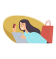 woman using plastic card to buy products online vector image