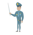 young hispanic policeman holding a pointer stick vector image vector image