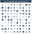 100 flat icons vector image vector image
