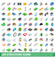 100 structure icons set isometric 3d style vector image vector image