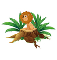 A little lion sitting above the wood vector image vector image