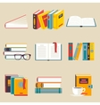 A set of books flat style vector image
